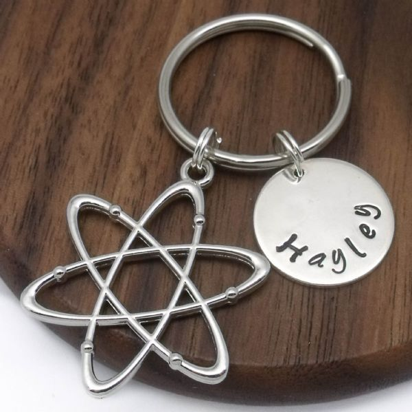 Atom science name keyring personalised gift